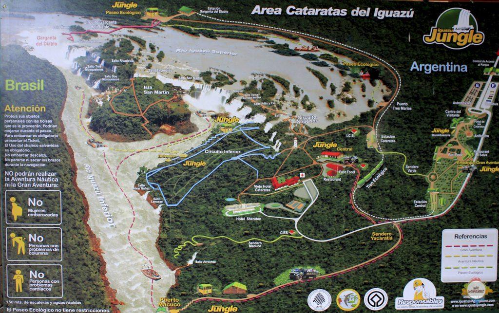 Karte der Argentinischen Seite der Iguazu